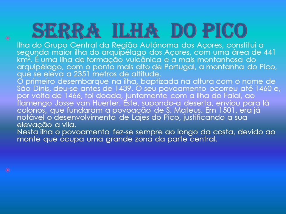 SERRA ILHA DO PICO
