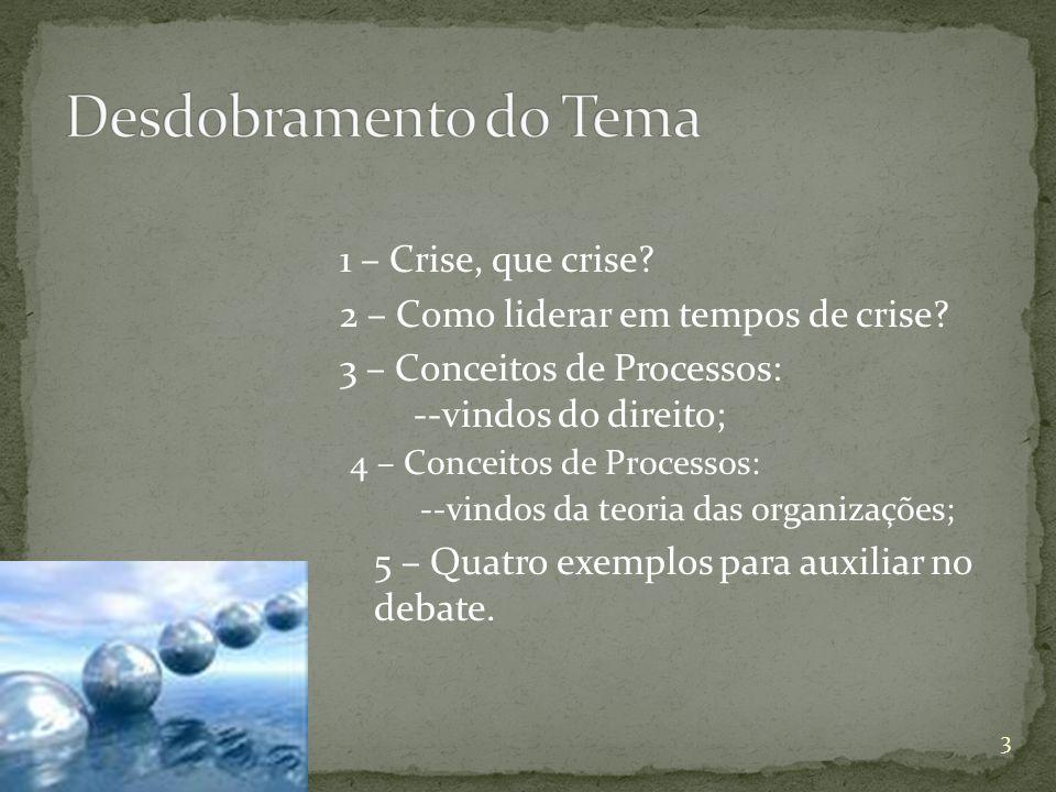 Desdobramento do Tema 1 – Crise, que crise