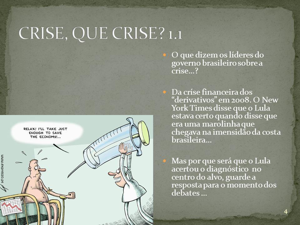 CRISE, QUE CRISE 1.1 O que dizem os líderes do governo brasileiro sobre a crise…