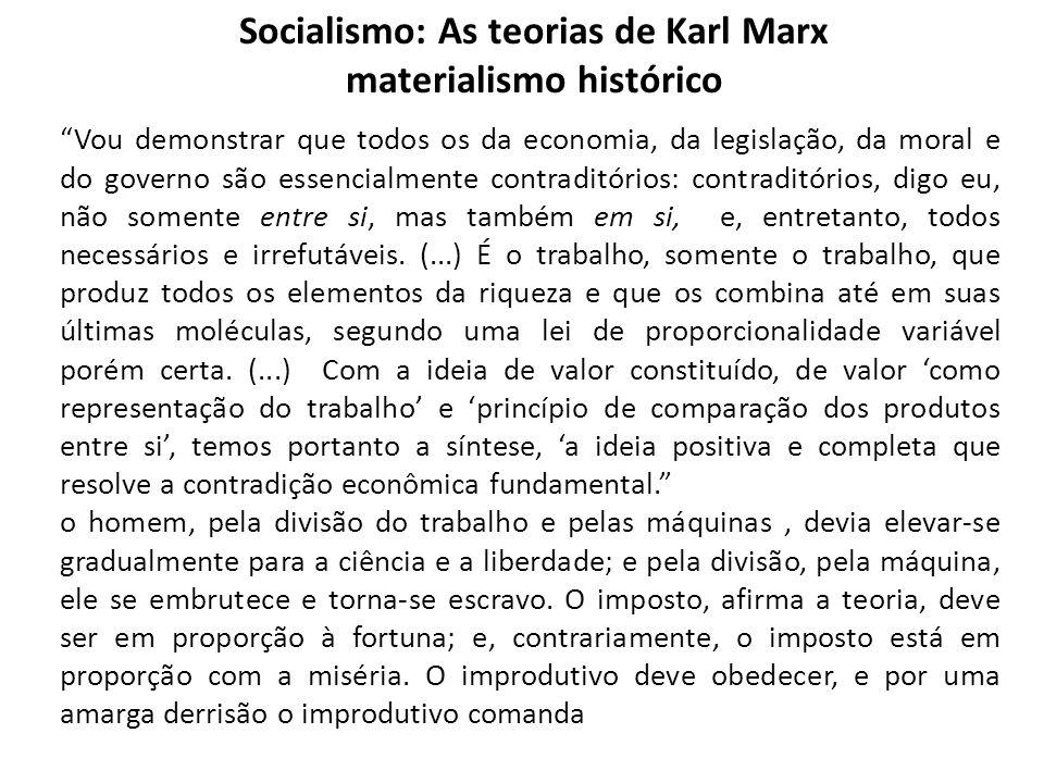 Socialismo: As teorias de Karl Marx materialismo histórico