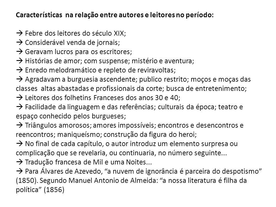 Características na relação entre autores e leitores no período: