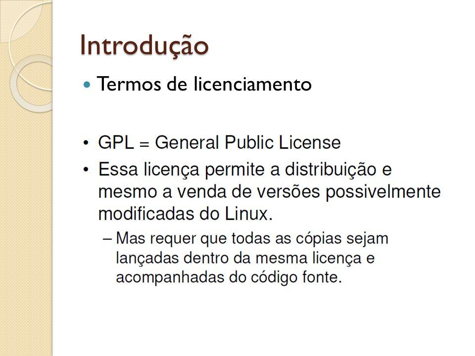 Introdução Termos de licenciamento