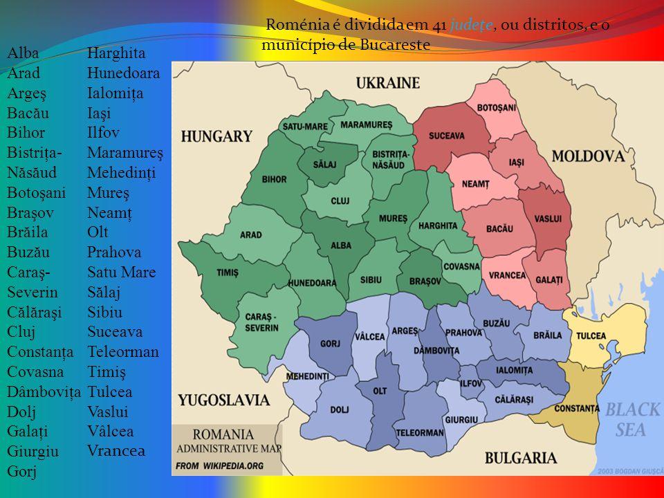 Roménia é dividida em 41 judeţe, ou distritos, e o município de Bucareste
