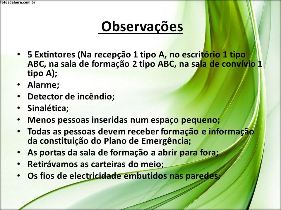 Observações 5 Extintores (Na recepção 1 tipo A, no escritório 1 tipo ABC, na sala de formação 2 tipo ABC, na sala de convívio 1 tipo A);