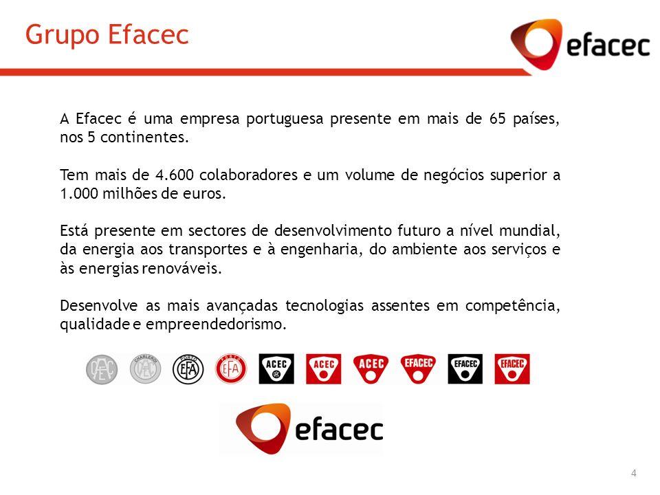 Grupo Efacec A Efacec é uma empresa portuguesa presente em mais de 65 países, nos 5 continentes.