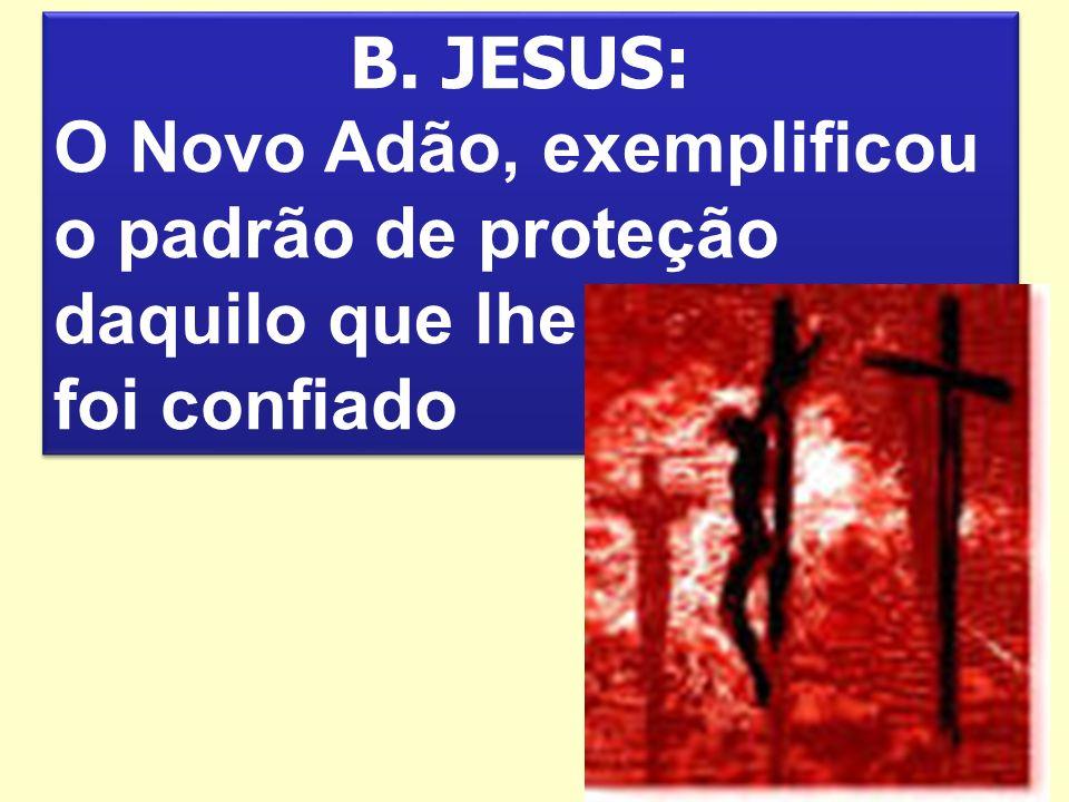 B. JESUS: O Novo Adão, exemplificou o padrão de proteção daquilo que lhe foi confiado
