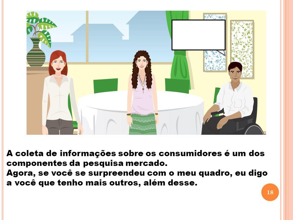 A coleta de informações sobre os consumidores é um dos componentes da pesquisa mercado.