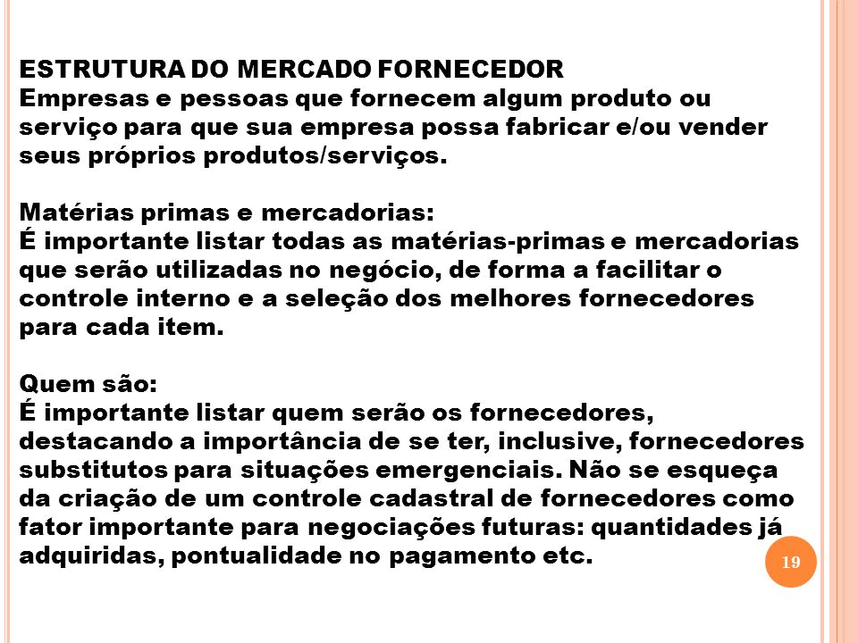 ESTRUTURA DO MERCADO FORNECEDOR