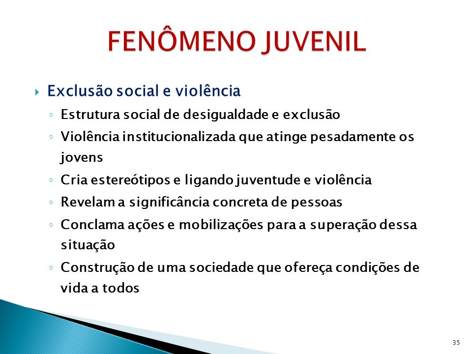 FENÔMENO JUVENIL Exclusão social e violência