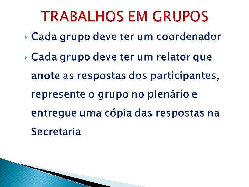 TRABALHOS EM GRUPOS Cada grupo deve ter um coordenador