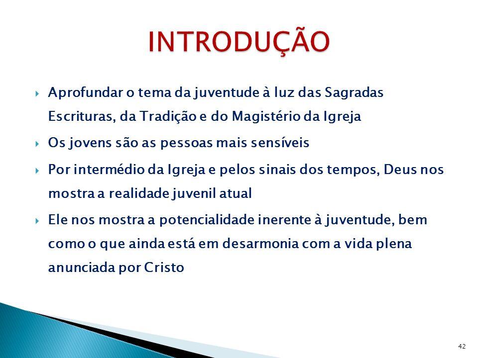 INTRODUÇÃO Aprofundar o tema da juventude à luz das Sagradas Escrituras, da Tradição e do Magistério da Igreja.