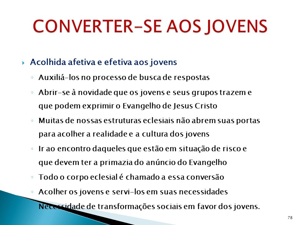 CONVERTER-SE AOS JOVENS