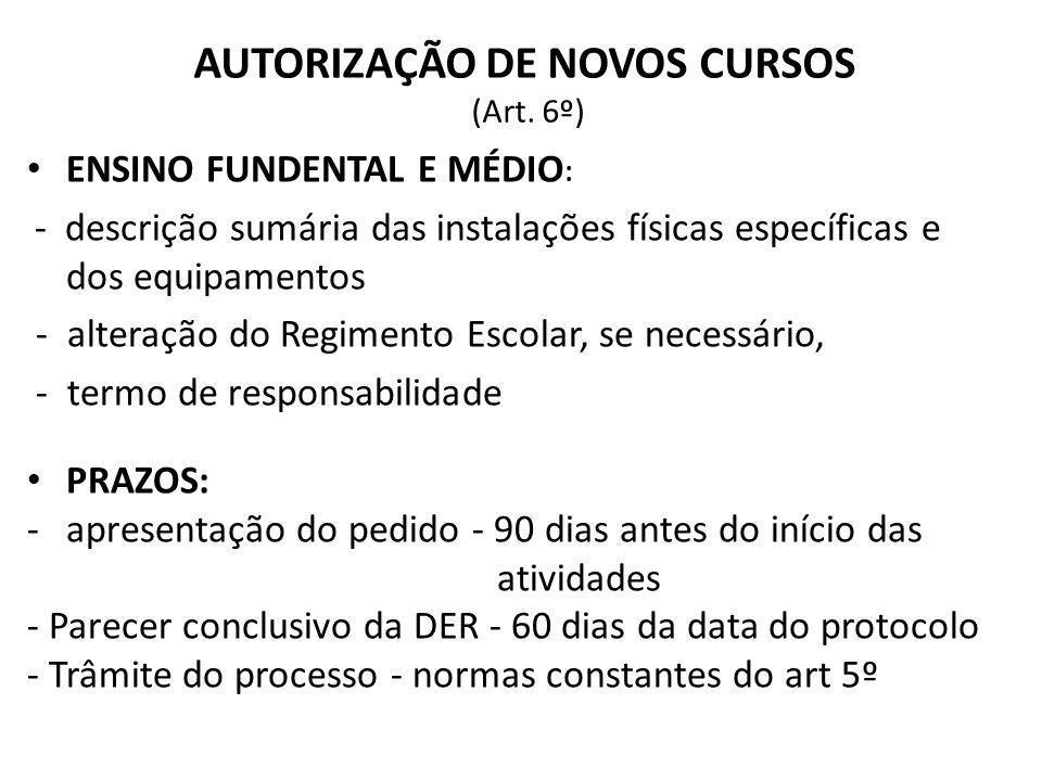 AUTORIZAÇÃO DE NOVOS CURSOS (Art. 6º)