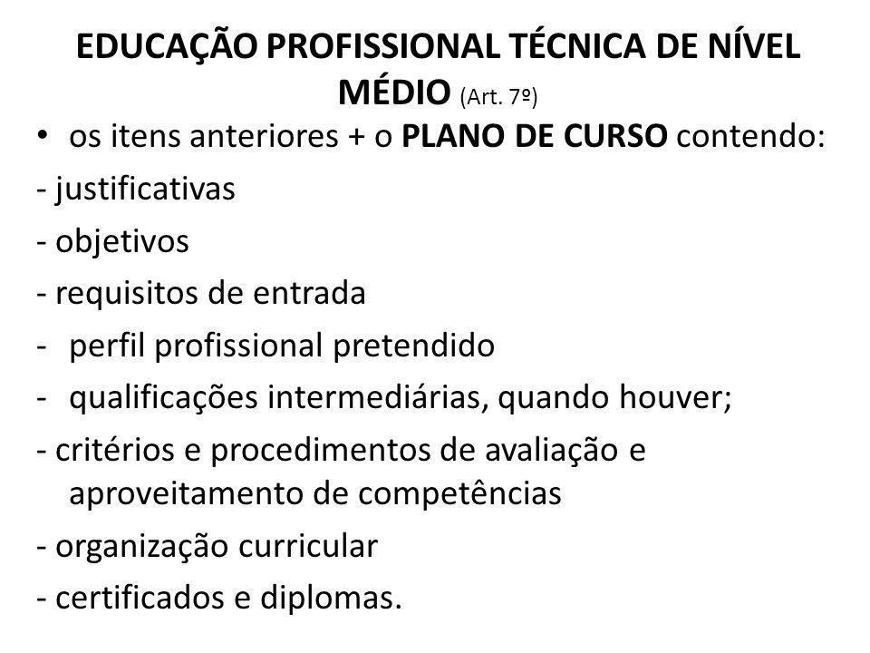 EDUCAÇÃO PROFISSIONAL TÉCNICA DE NÍVEL MÉDIO (Art. 7º)