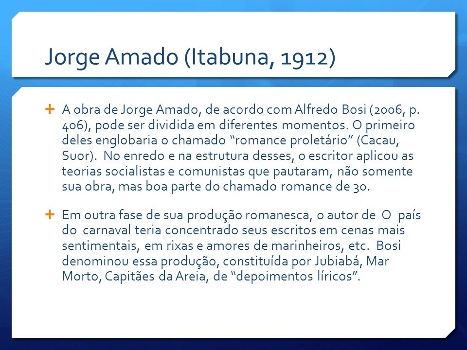 Jorge Amado (Itabuna, 1912)