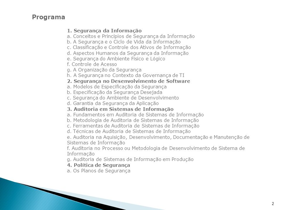 Programa 1. Segurança da Informação.