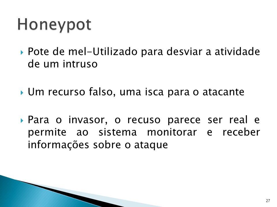Honeypot Pote de mel-Utilizado para desviar a atividade de um intruso