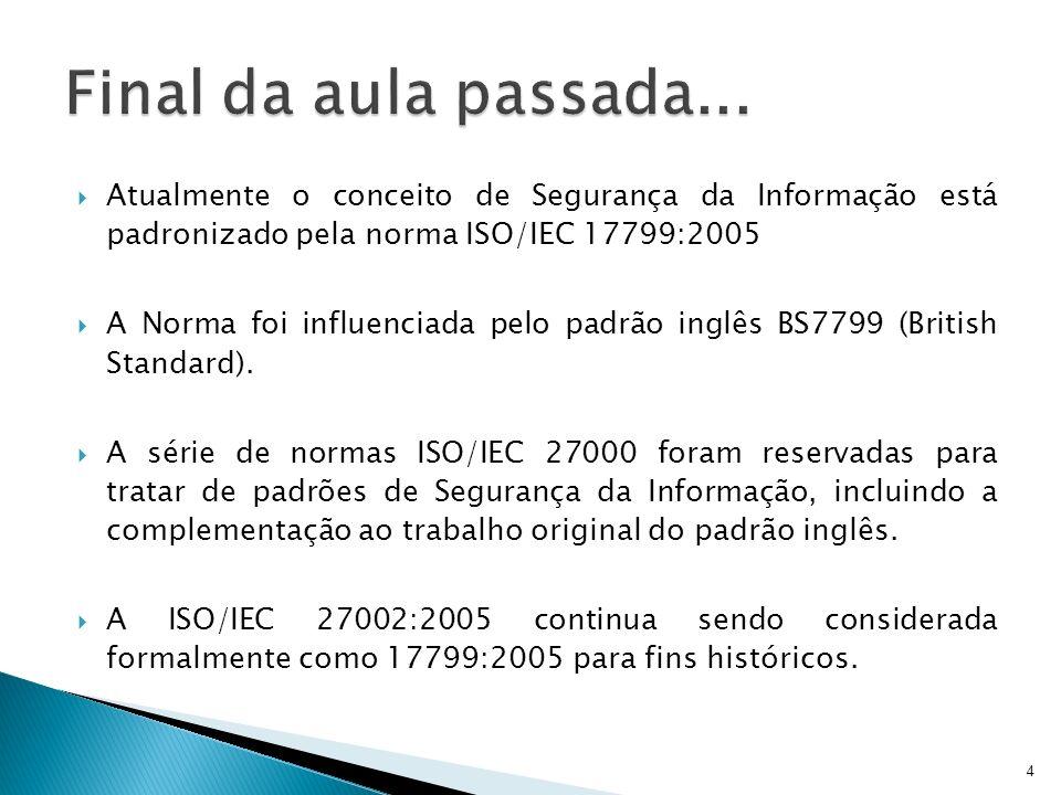 Final da aula passada... Atualmente o conceito de Segurança da Informação está padronizado pela norma ISO/IEC 17799:2005.
