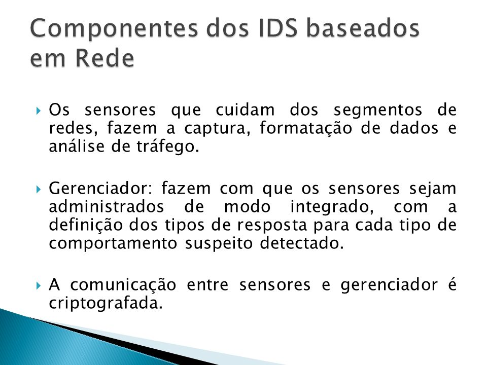 Componentes dos IDS baseados em Rede
