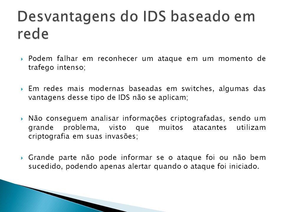 Desvantagens do IDS baseado em rede