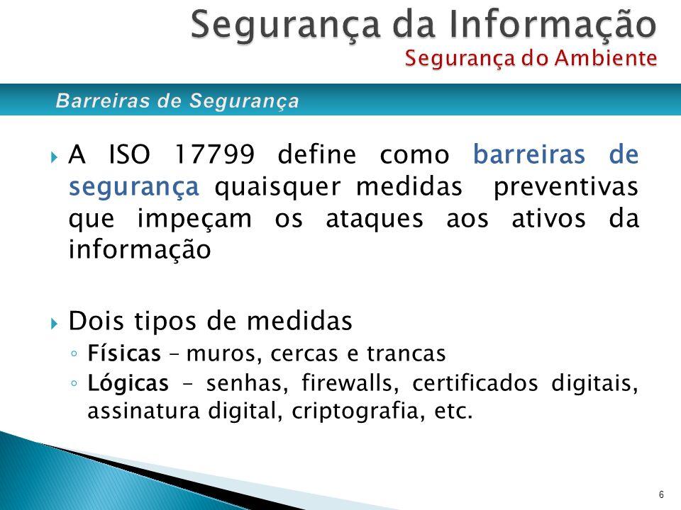 Segurança da Informação Segurança do Ambiente