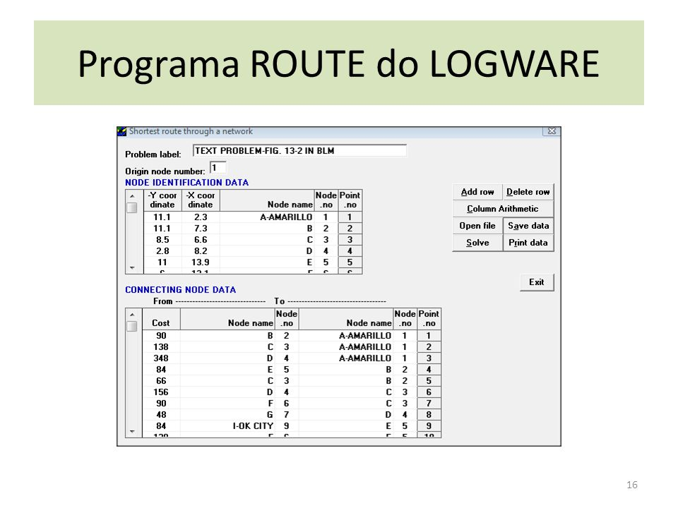 Programa ROUTE do LOGWARE