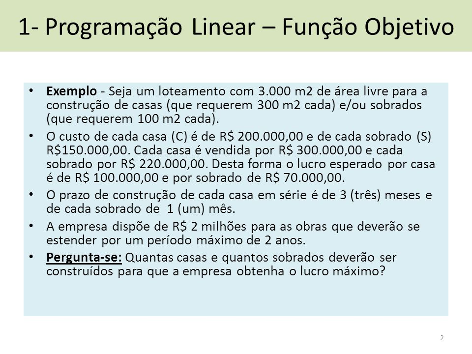 1- Programação Linear – Função Objetivo