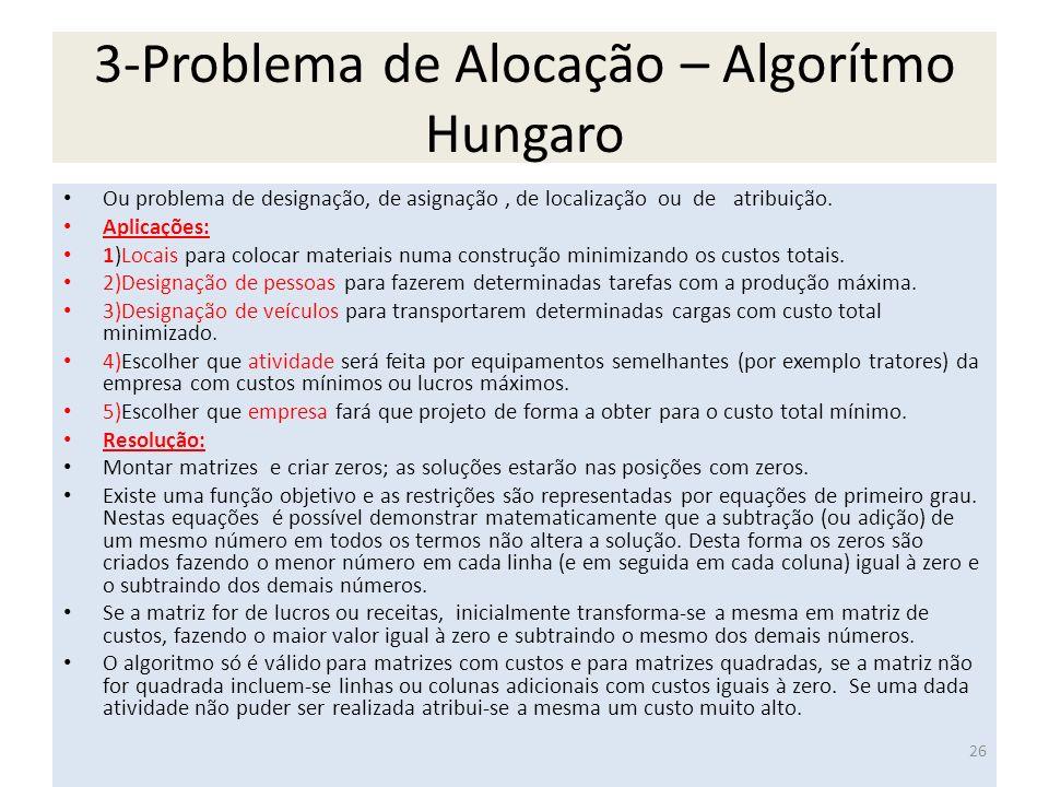 3-Problema de Alocação – Algorítmo Hungaro