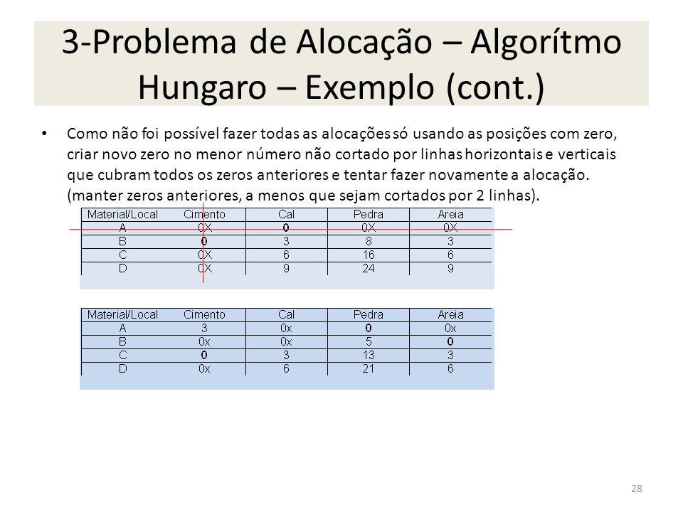 3-Problema de Alocação – Algorítmo Hungaro – Exemplo (cont.)
