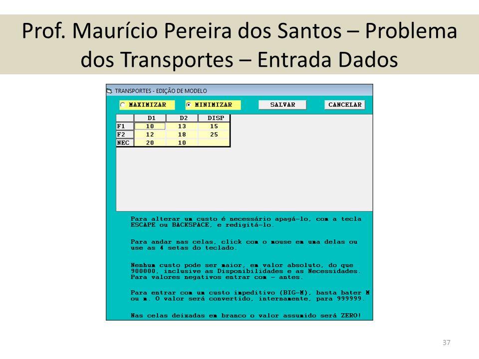 Prof. Maurício Pereira dos Santos – Problema dos Transportes – Entrada Dados