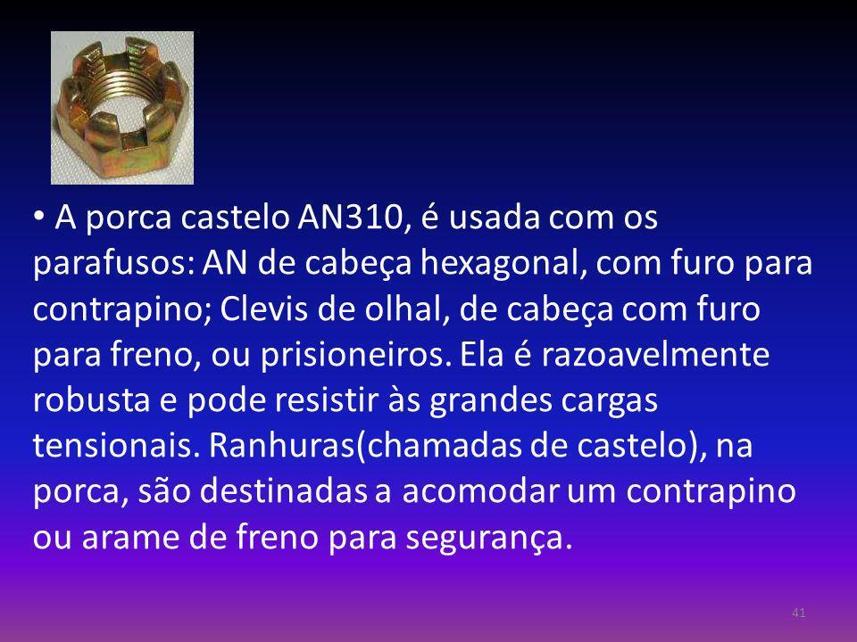 A porca castelo AN310, é usada com os parafusos: AN de cabeça hexagonal, com furo para contrapino; Clevis de olhal, de cabeça com furo para freno, ou prisioneiros.
