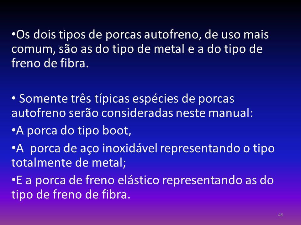 Os dois tipos de porcas autofreno, de uso mais comum, são as do tipo de metal e a do tipo de freno de fibra.