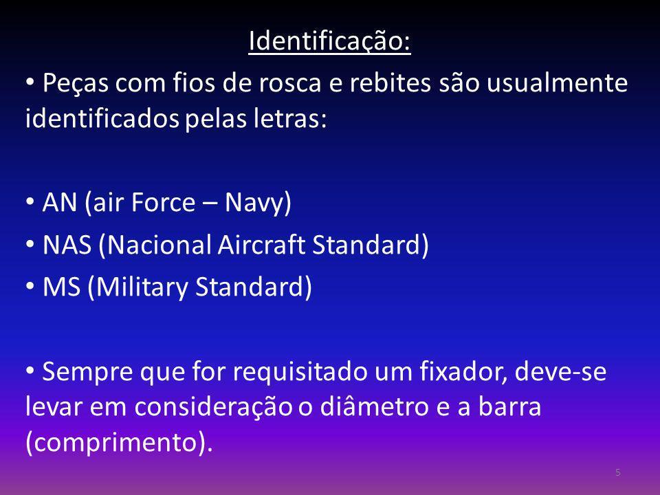 Identificação: Peças com fios de rosca e rebites são usualmente identificados pelas letras: AN (air Force – Navy)