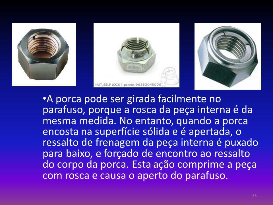 A porca pode ser girada facilmente no parafuso, porque a rosca da peça interna é da mesma medida.