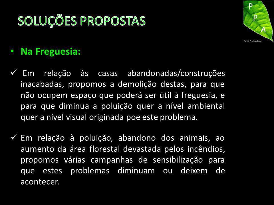 SOLUÇÕES PROPOSTAS Na Freguesia: