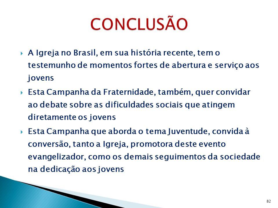 CONCLUSÃO A Igreja no Brasil, em sua história recente, tem o testemunho de momentos fortes de abertura e serviço aos jovens.