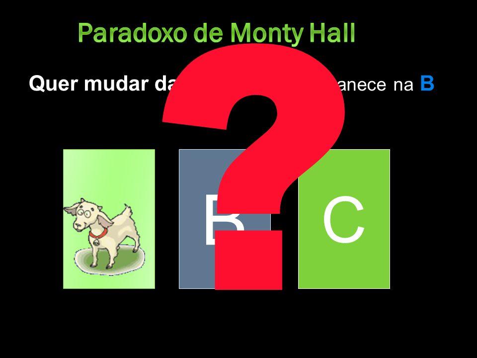 Paradoxo de Monty Hall Quer mudar da porta Ou permanece na B B C