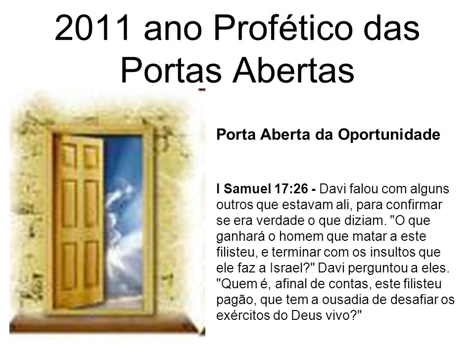 2011 ano Profético das Portas Abertas