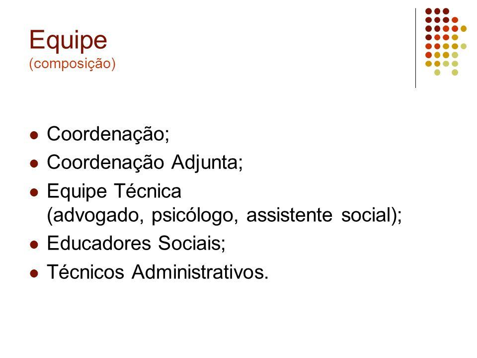 Equipe (composição) Coordenação; Coordenação Adjunta;
