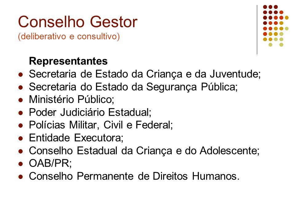 Conselho Gestor (deliberativo e consultivo)