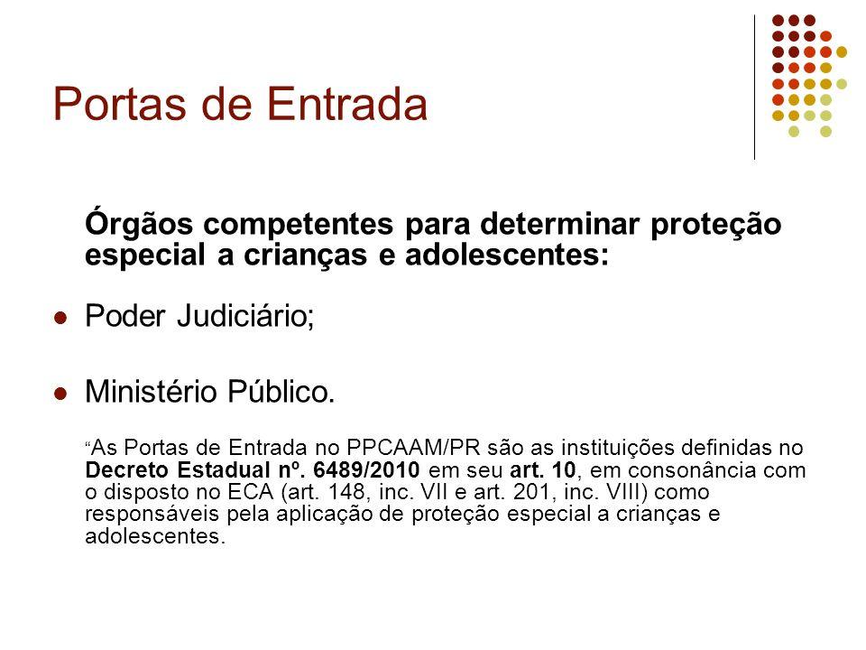 Portas de Entrada Órgãos competentes para determinar proteção especial a crianças e adolescentes: Poder Judiciário;