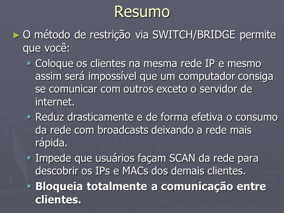 Resumo O método de restrição via SWITCH/BRIDGE permite que você: