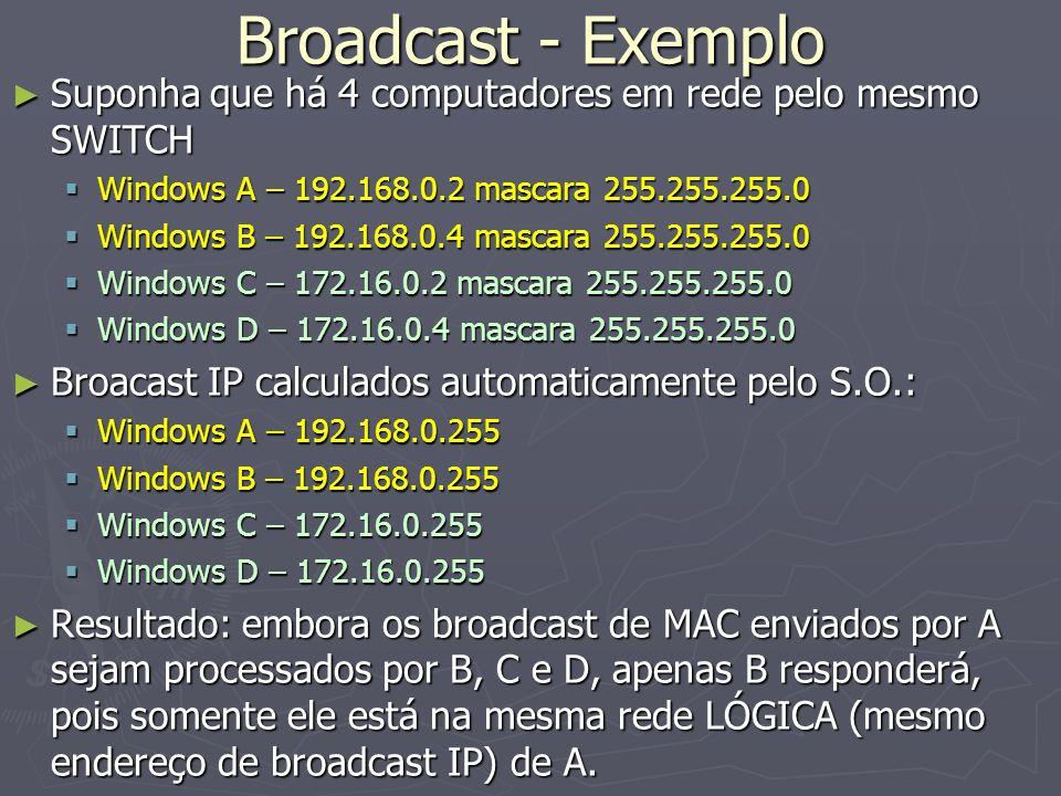 Broadcast - Exemplo Suponha que há 4 computadores em rede pelo mesmo SWITCH. Windows A – 192.168.0.2 mascara 255.255.255.0.