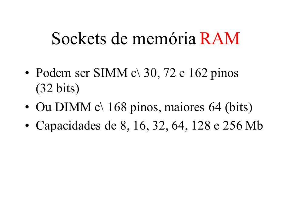 Sockets de memória RAM Podem ser SIMM c\ 30, 72 e 162 pinos (32 bits)