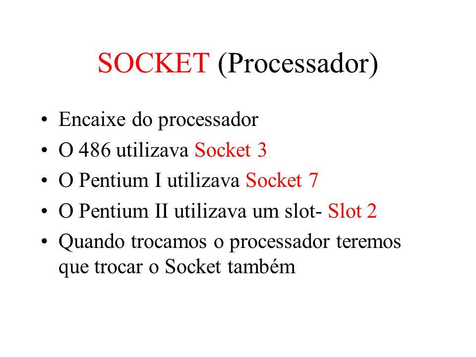 SOCKET (Processador) Encaixe do processador O 486 utilizava Socket 3
