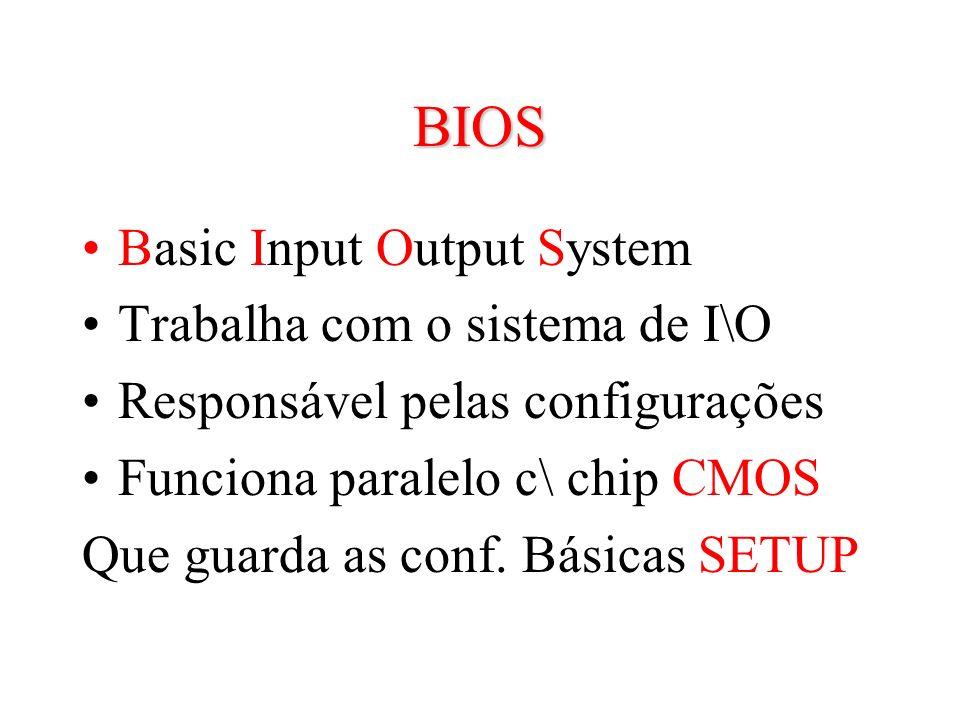 BIOS Basic Input Output System Trabalha com o sistema de I\O
