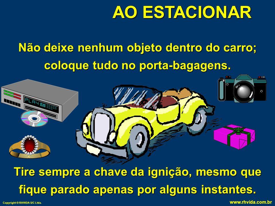 AO ESTACIONAR Não deixe nenhum objeto dentro do carro; coloque tudo no porta-bagagens.
