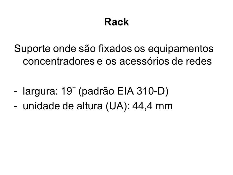 Rack Suporte onde são fixados os equipamentos concentradores e os acessórios de redes. largura: 19¨ (padrão EIA 310-D)