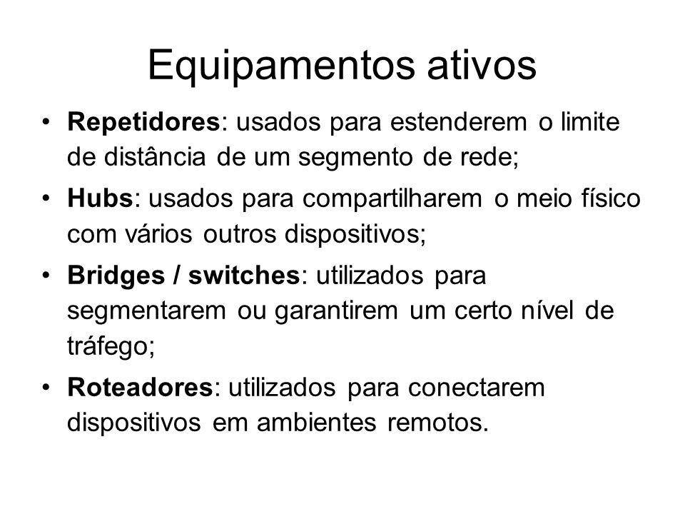 Equipamentos ativos Repetidores: usados para estenderem o limite de distância de um segmento de rede;