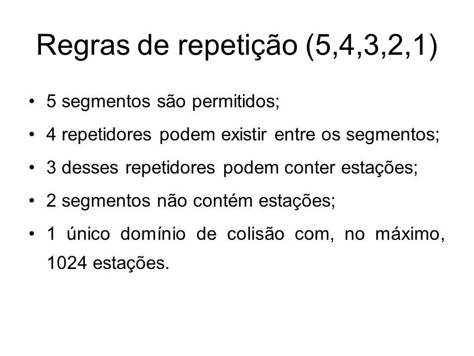 Regras de repetição (5,4,3,2,1) 5 segmentos são permitidos;
